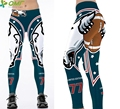 Green White Wolf Rugby Tights Women's Sexy Hips Push Up Sports Yoga Compression Leggings Running Fitness Gym Pants High Waist