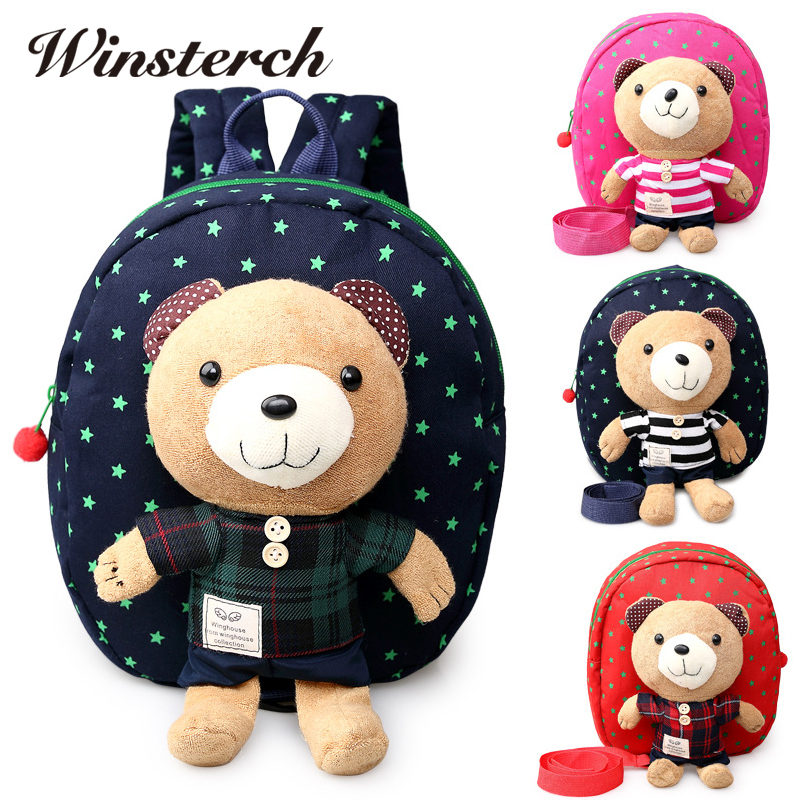 2017 Plush Bear Backpacks Boys Girls School Backpack Teenagers Kids Bags Walking Toddler Rucksack Mochila B0004
