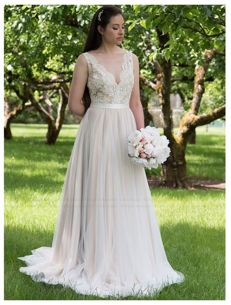 LORIE Boho Wedding Dress Lace Beads Tulle Open Back Simple Princess Bride Dress Custom Made Wedding