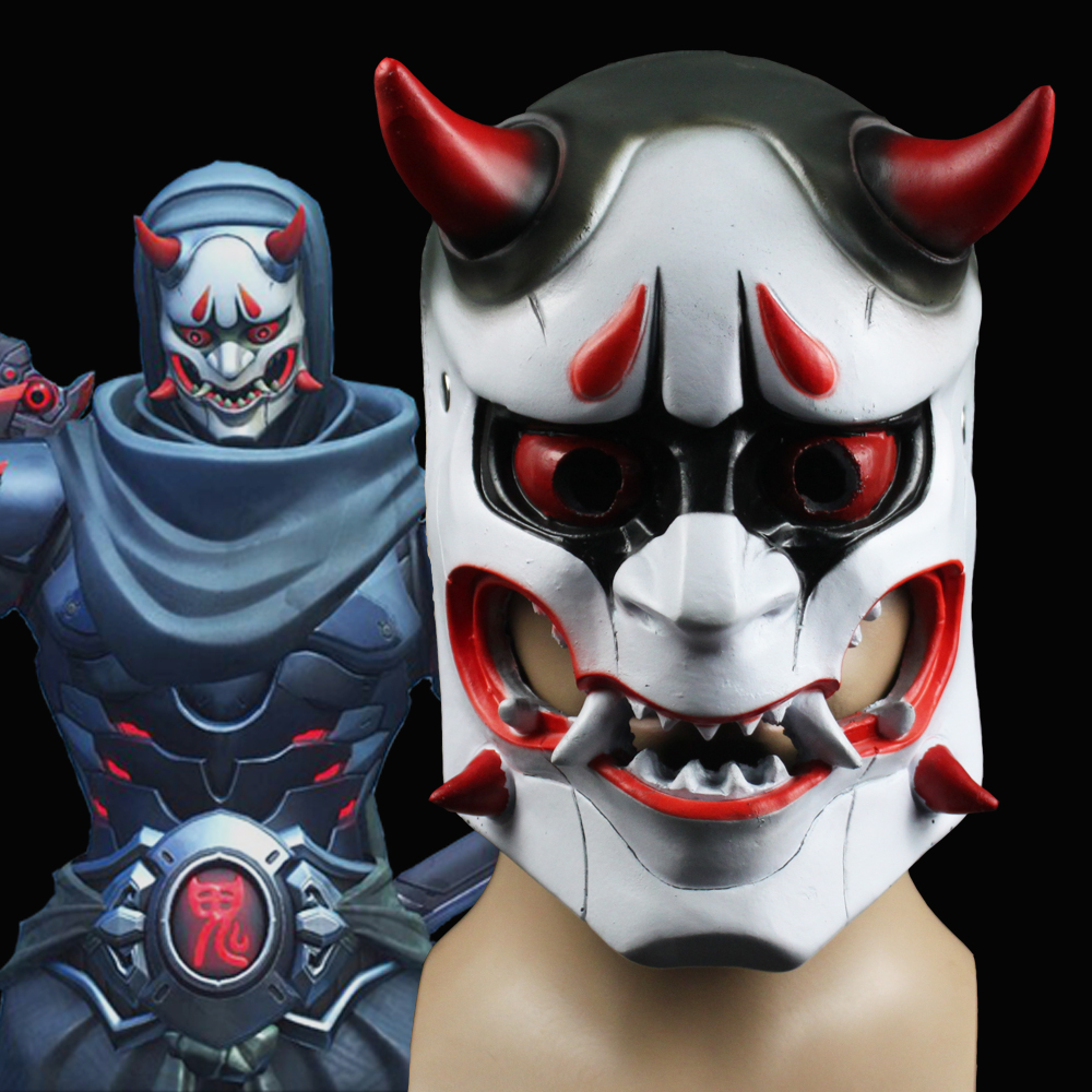 Game OW Genji Skin Evil Ghost Mask Cosplay Accessories Horrbie Full Face Head Masks Japan Prajna Scared Halloween Party Props