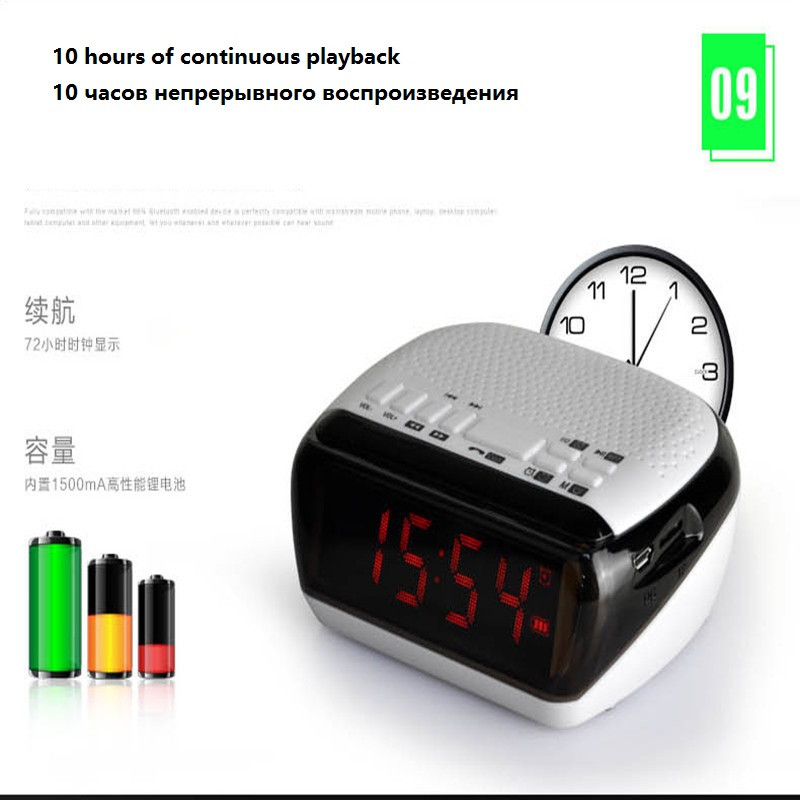 Mini Portable Dual Alarm Clock Bluetooth Stereo Speaker LCD Digital FM Radio Bluetooth Wireless Speaker Support TF For Computer (17)