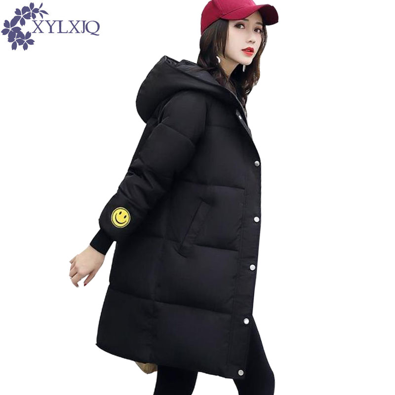 XYLXJQ New Winter Jacket Women 2017 Long Loose Cotton-Padded Coat Plus Size Thick Jackets Print Hooded Warm Parkas Coats HD011 free shipping winter parkas men jacket new 2017 thick warm loose brand original male plus size m 5xl coats 80hfx