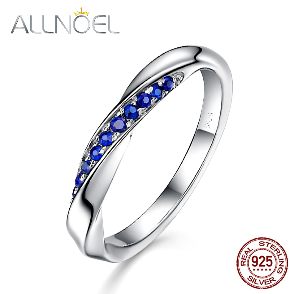 ALLNOEL Genuine 925 Sterling Silver Ring For Women 1.3mm Blue Sapphire Ring Luxury Jewelry Valentines Day Romantic Wedding BandALLNOEL Genuine 925 Sterling Silver Ring For Women 1.3mm Blue Sapphire Ring Luxury Jewelry Valentines Day Romantic Wedding Band