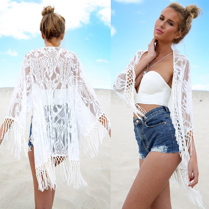 2017 New Womens Summer Lace Tassel Crochet Bikini Cover Up Beach Top Kaftan Caidigan Beach Swimsuit Cover Up Beach Dress