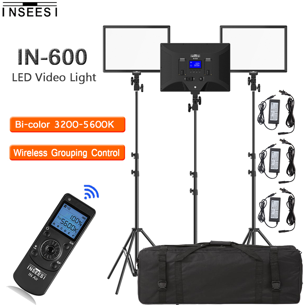 INSEESI IN-600 LED Video Light Photographic lighting 3 in 1 Kit Dimmable 3200-5600k Photo light for Studio Light youtube Video gvm dimmable 520 led video light 3200 5600k cri97 tlci97 professional led studio light for interview photography video light