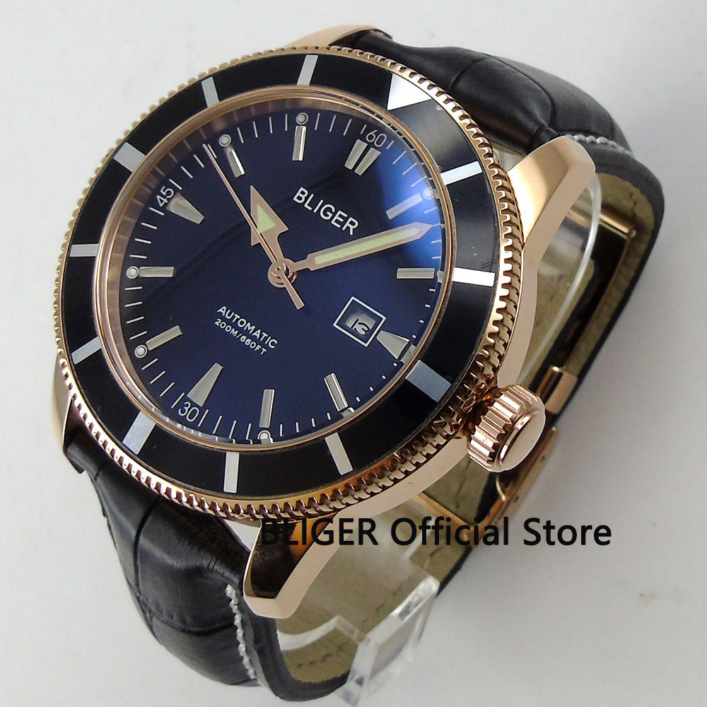 Solid 46mm BLIGER Black Dial Black Rotating Bezel Rose Golden Case Luminous Pointer Miyota Automatic Movement Men's Wristwatch цена и фото
