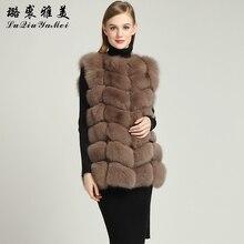 68cm Real Fox Fur Vests 2017 New Brand Winter Russian Warm Natural Fox Fur High Quality Female Genuine Fur Vest Coats Sleeveless