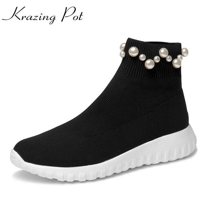 Krazing Pot knitting stretch odern autumn boots streetwear European designer pearl wedge med heel women leisure ankle boots L68