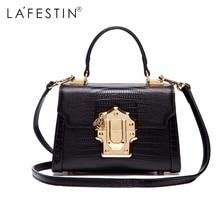 LAFESTIN Designer Serpentine Lock Handbag Real Leather