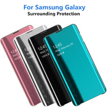 Mirror Flip Phone Case For Samsung Galaxy S10 S10E Clear View Smart Cover S8 S9 Plus Back