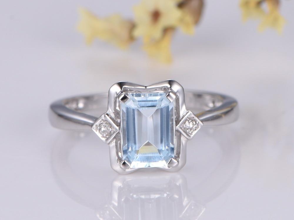 MYRAY Aquamarine Engagement Ring 5x7mm Emerald Cut Stone 14K White Gold,Natural Diamond Band,Bridal Wedding Ring