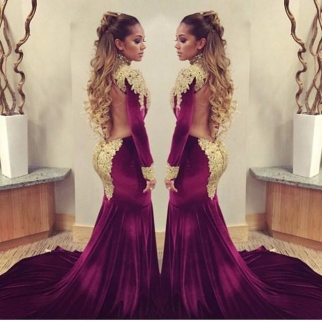 2e168885c75b 2017 Sheer Back Gold Lace Appliques Wine Red Long Sleeve Prom Dress Bespoke  Sexy High Neck Velvet Burgundy Mermaid Prom Dresses