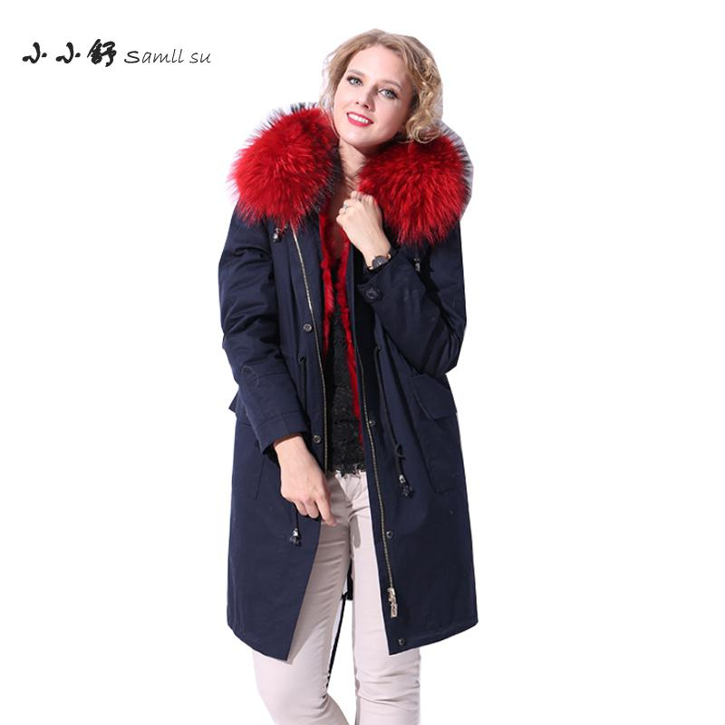 Small Su Women's Winter Long Overcoats Navy Raccoon Dog Hooded Red Rabbit Fur Liner Warm Drawrting Parkas Coats 2017 Plus Size su gx 5s r