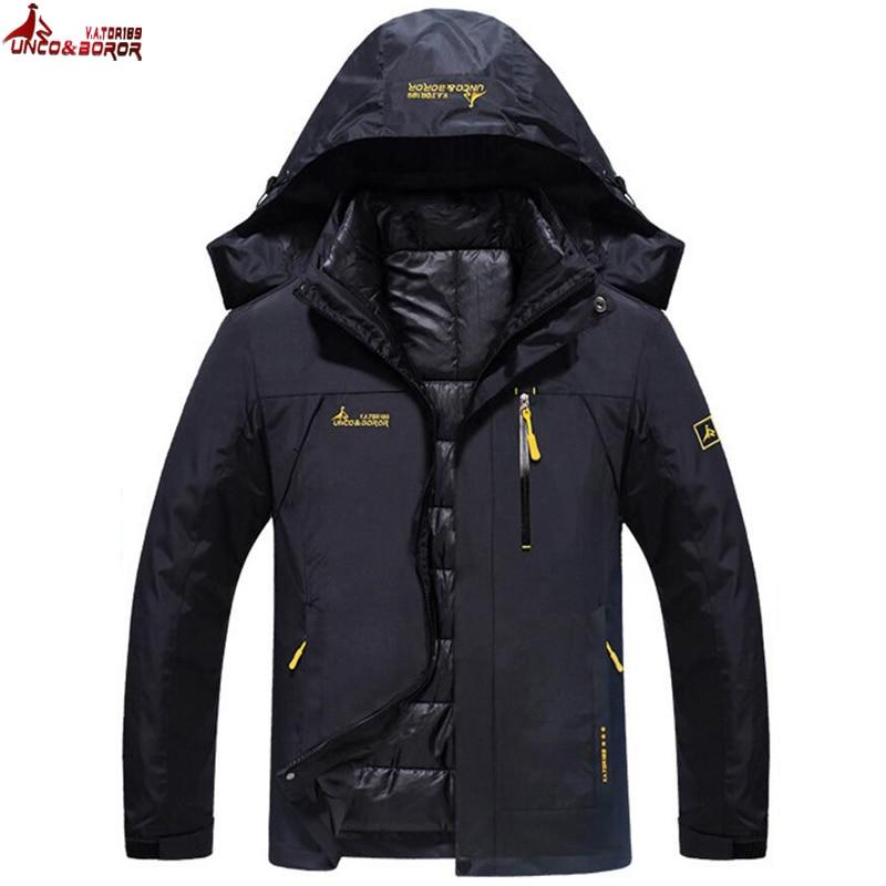 Жутко и BOROR зимняя куртка мужская и женская хлопок вниз парка теплый водонепроницаемый ветрозащитный съемная 2 шт. комплект пальто с капюшон...