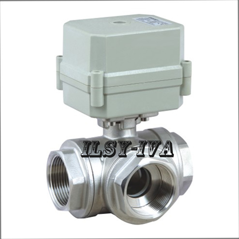 G1/2 3 way Electric Ball Valve.T/L type corrosion resistant body in304 stainless steel
