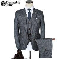 Men Grey Plaid Tuxedo Suit Slim Fit 2017 Autumn Fashion Party Business Wedding Suits For Men