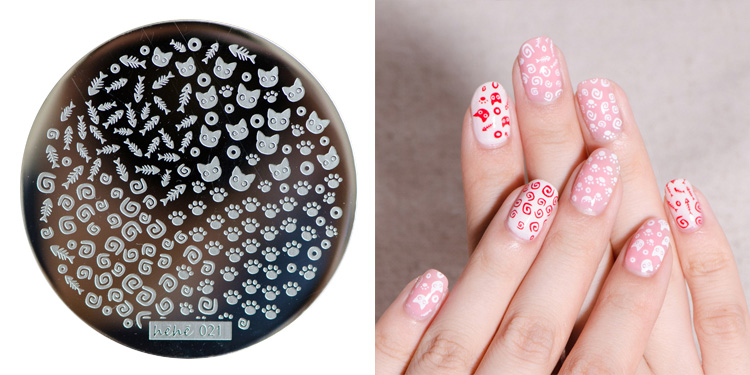 Free shipping 1PC New Stamping Plate hehe021 Nail Art Template ----cat and fish and so on