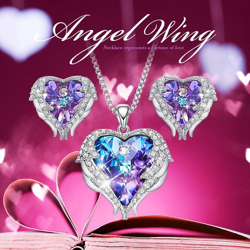 Cdyle crystaux de swarovski Ange Ailes Colliers Boucles D'oreilles Pourpre Bleu Cristal Coeur pendentif Ensemble Pour Femmes cadeaux d'amour - 2