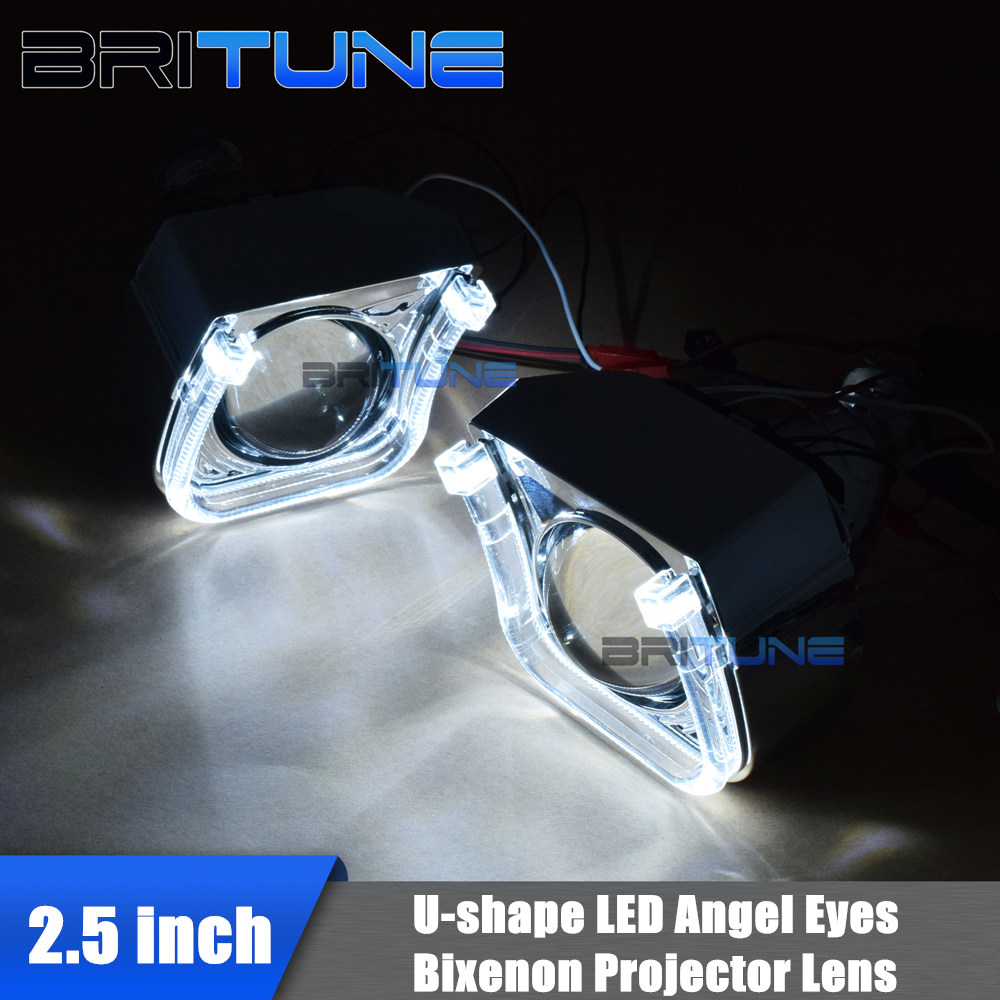 Special U Shape Led Angel Devil Eyes 2.5'' Mini Bi-xenon Projector Lens Daytime Running Lights For H4 H7 Cars Auto Headlight Diy Comfortable Feel