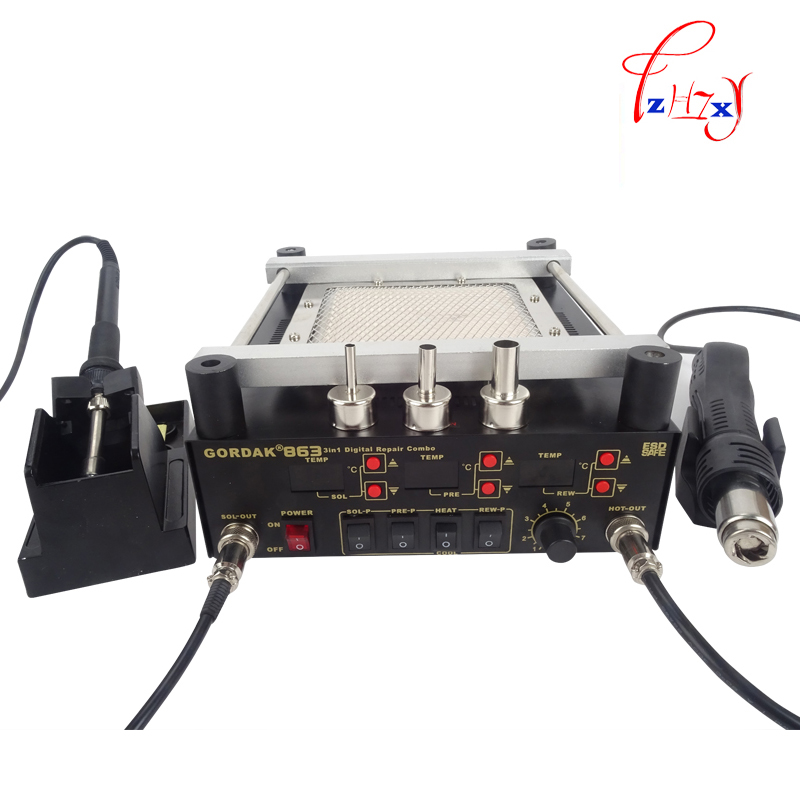 ФОТО Gordak 863 Digita Hot Air Heat Gun BGA Rework Solder Station+Electric Soldering iron+IR Infrared Preheating Station