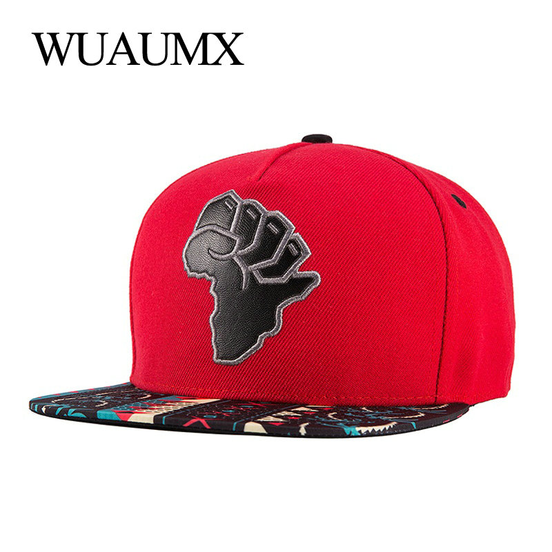 Wuaumx Snapback Caps For Men Women Map Of Africa Baseball Caps Gorras Snap Back Hip Hop Dancer Cap Flat Peak Casquette Chapeau