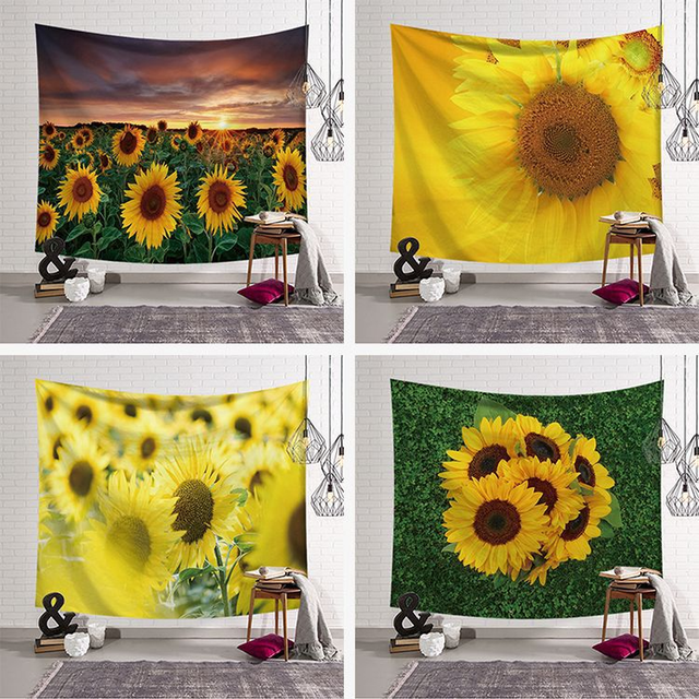 Chic Sunflower Wall Tapestry Home Decorations Taerie Hanging Dorm Living Room Bedroom Decor Rectangle Flower