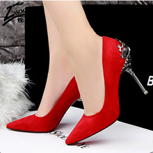 เซ็กซี่ผู้หญิงรองเท้าส้นสูงสีแดงด้านล่างF Aux S Uedeพรรคแหลมนิ้วเท้าส้นสูงปั๊มสุภาพสตรีรองเท้าแต่งงานเจ้าสาวสำนักงานส้นรองเท้า