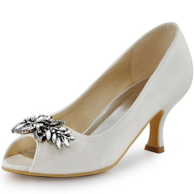 3e24d0e80 HP1540 Marfim Mulheres Brancas Sapatos de Noiva Lady Peep Toe Strass Salto  Baixo Bombas de Festa