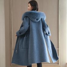 Модное женское длинное шерстяное пальто размера плюс, тонкая женская куртка на молнии с карманами и меховым воротником, синее шерстяное пальто