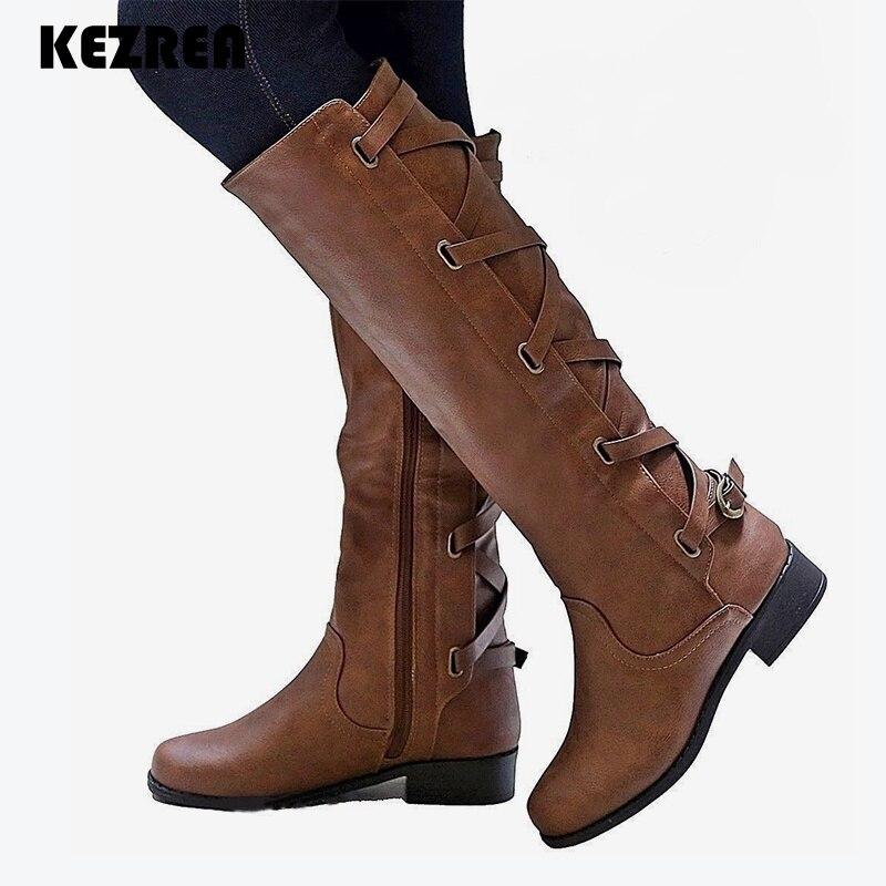 7810bb7d75e Kezrea 2018 Fashion Zipper Women Plus Size Casual Platform Thick Heels Knee  Boots Female Lace Up