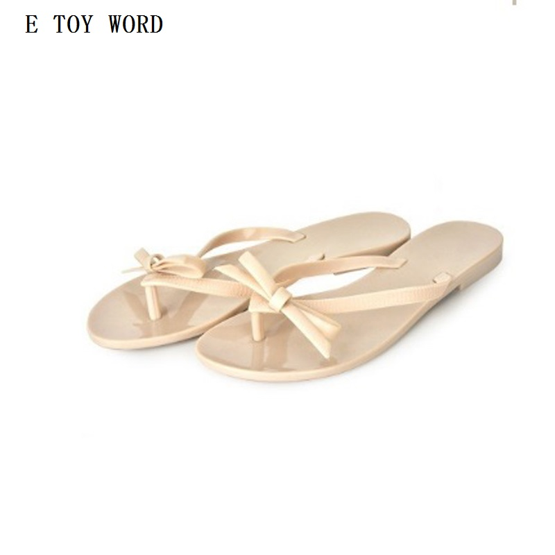 2017 Women's Summer women's bow flat heel flip flops beach slippers flip female shoes Beach fashion PVC asds women s summer women s bow flat heel flip flops beach slippers flip female shoes beach fashion pink