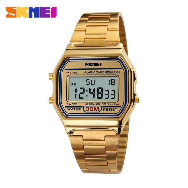 Marca de moda de Quartzo Dos Homens Relógios Relogio masculino À Prova D' Água LED Relógio Digital Relógio de Aço Inoxidável Das Mulheres Assistir Relojes Mujer