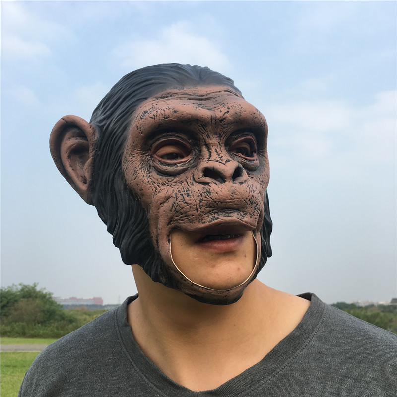 1Pcs Realistic Orangutan Latex Masks Full Face Animal Monkey Mask Scary Mask Halloween Party Cosplay Prop Masquerade Fancy Dress