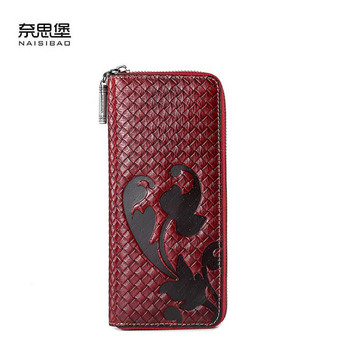2020 new leather wallet Ms. Long Large Capacity Vintage Wallet Chinese style embossed wallet