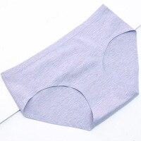 Sonbahar orta bel dikişsiz külot sevimli iç çamaşırı kadın katı renk pamuk nefes seksi külot lingerie ücretsiz kargo p0153