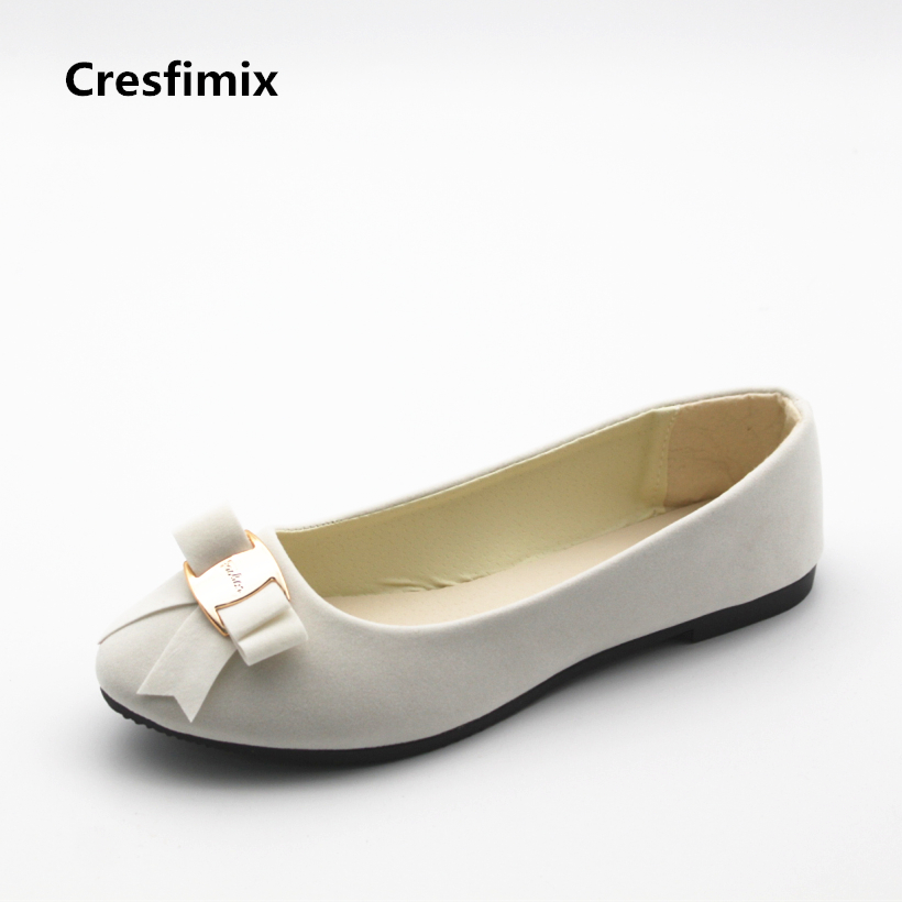Cresfimix women casual spring & summer slip on flat shoes female cute comfortable white flat shoes lady cute solid shoes zapatos cresfimix women cute spring