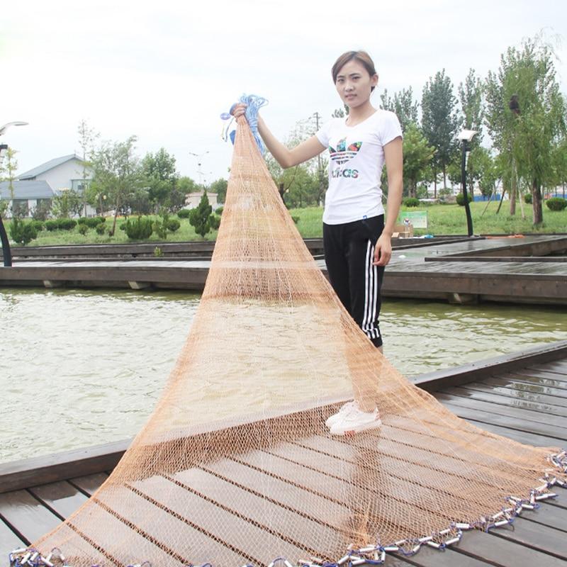 Mayitr 2.4 m filet de pêche pliant en Nylon Monofilament accessoires durables piège à flotteur filet de poisson facile à attraper filet moulé avec pesée