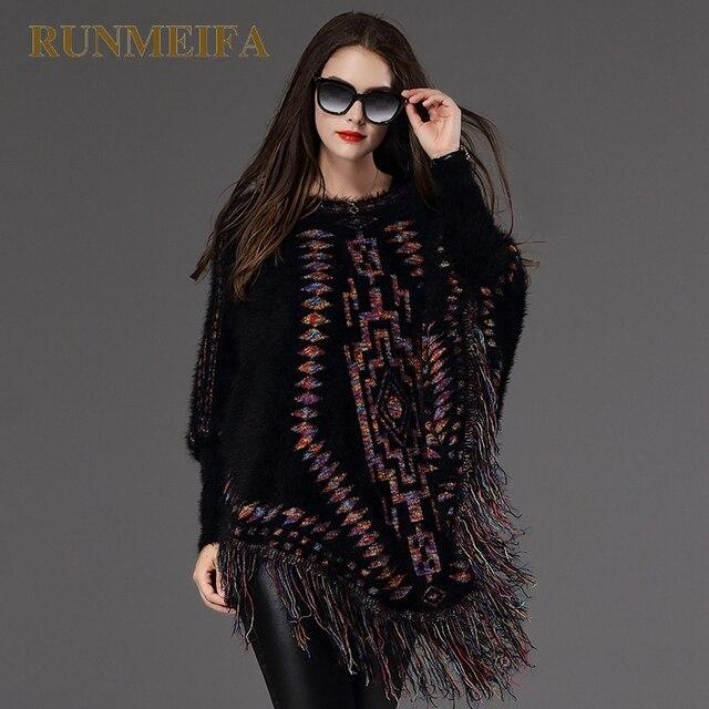 [RUNMEIFA] 2017 новые модные Женская Одежда Осенние и зимние бахрома жаккардовые рукава летучая мышь головы свитер-пальто плащ платки