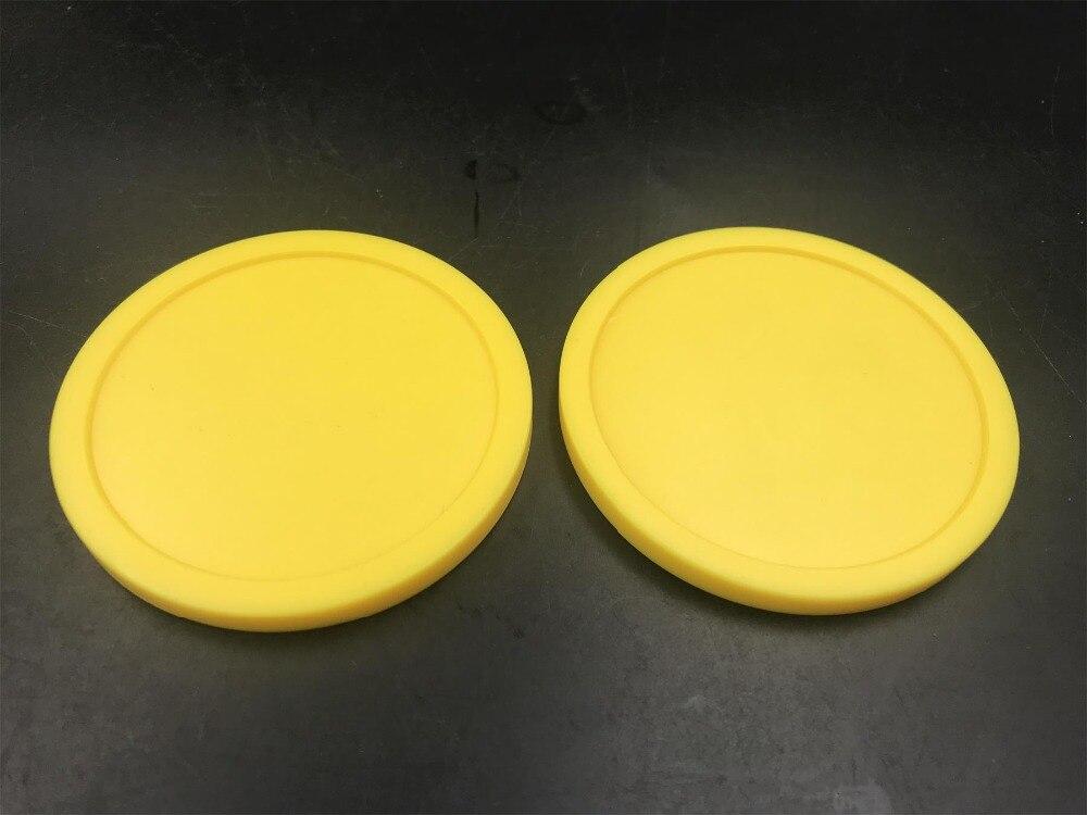 NEW 2pcs YELLOW Air Hockey Table Pusher Puck 82mm 3-1/4