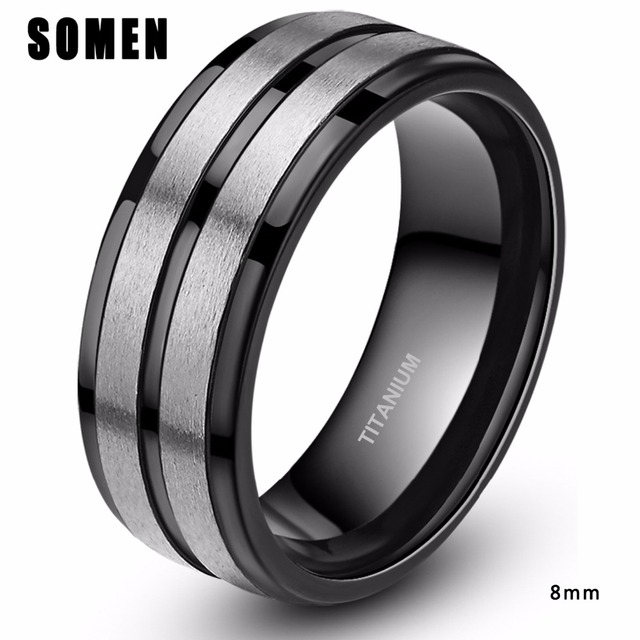 Classic 8mm Mens Black Groove Brushed Titanium Ring Male Engagement Rings Love Wedding Band Fashion Jewelry