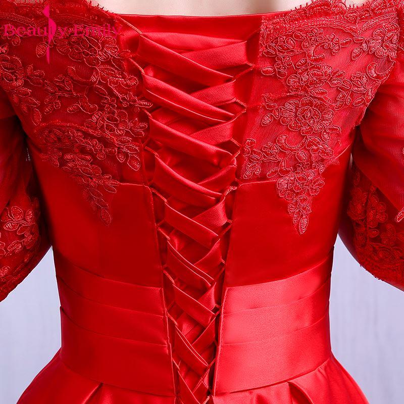 Beauté Emily élégant vin rouge longues robes De soirée 2019 dentelle poche Satin sur mesure femmes fête robes De bal Robe De soirée - 6