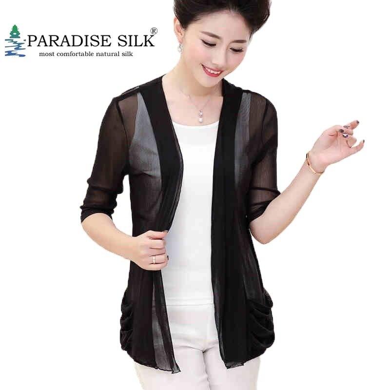 100% chemise à manches courtes en maille de soie pour femmes haut chemisier taille L XL XXL