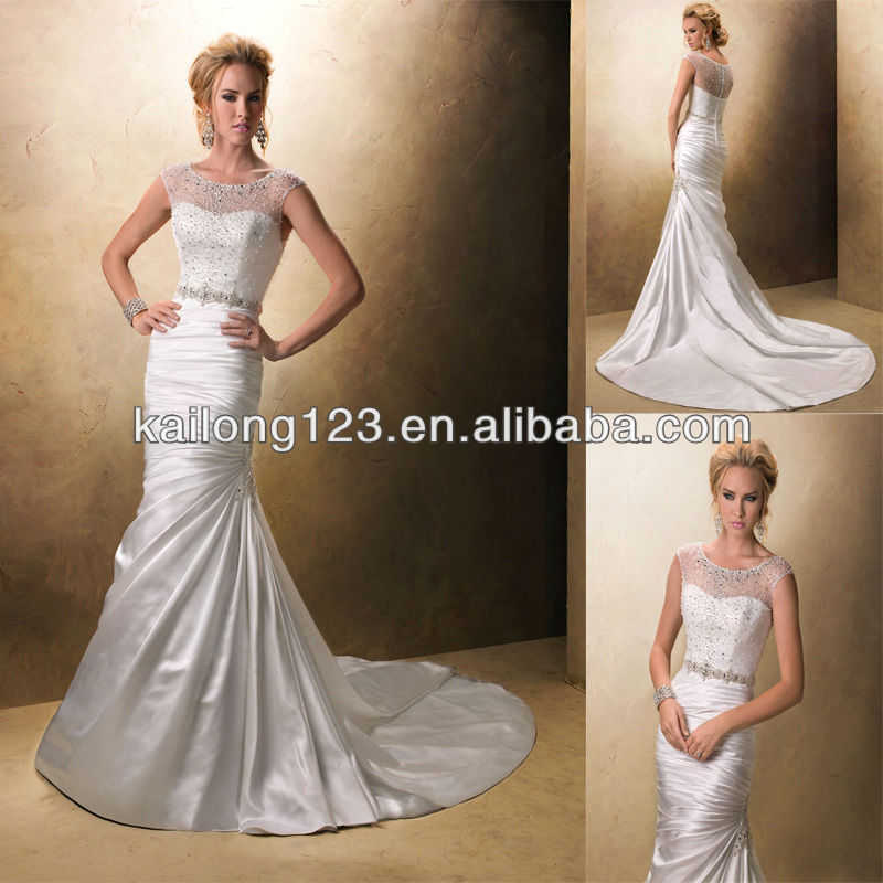 Glamorous Illusion Neckline Fit And Flare Chapel Train Crystal Beading Satin 2017 Wedding Dresses In From Weddings Events On