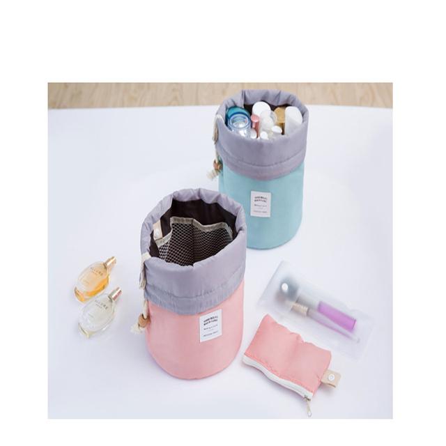 Barrel Shaped Travel Cosmetic Bag