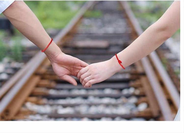 Vintage czerwona bransoletka szczęście ciąg ręcznie Para Las Mujeres Cuerda Pulsera Hombres Hechos Para bransoletka