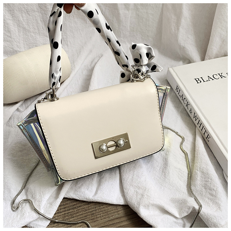 Laser Flap Bags For Women Luxury Brand Designer Scarf Chain Ladies Transparent Shoulder Bags Pearl Clear Female Crossbody BagLaser Flap Bags For Women Luxury Brand Designer Scarf Chain Ladies Transparent Shoulder Bags Pearl Clear Female Crossbody Bag