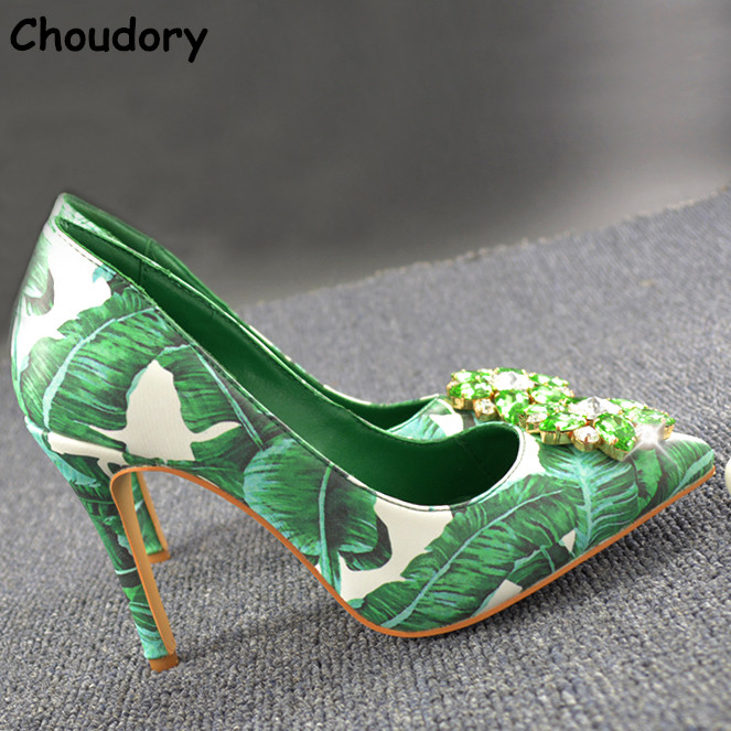 ФОТО 2017 Spring Autumn Bling Bling Crystal Green Banana Leaves High Heels Female Party Dress ShoesHigh Heels Pointed Toe Women Pumps