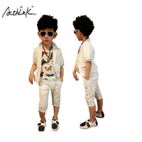 ActhInK New Summer Children 2Pcs Solid Short Sleeve Suit For Boys Kids Korean Style Cotton Clothing