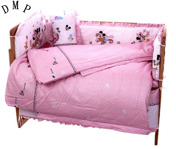 Promotion! 7pcs Cartoon Baby Bedding Cot 4bumper 100% Cotton Crib Sheet Kit Berco (4bumper+duvet+matress+pillow)
