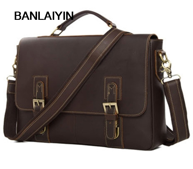 Vintage Crazy Horse Genuine Leather Men Briefcase Tote Business Bag Leather Laptop Briefcase Men Messenger Bag Shoulder Bag retro crazy horse genuine leather bag business laptop bag briefcase men leather crossbody bag shoulder messenger men tote bag